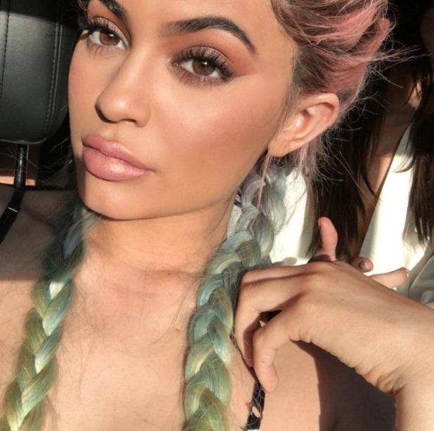 Kylie Jenner rocks rainbow hair at Coachella festival, 16 April 2016