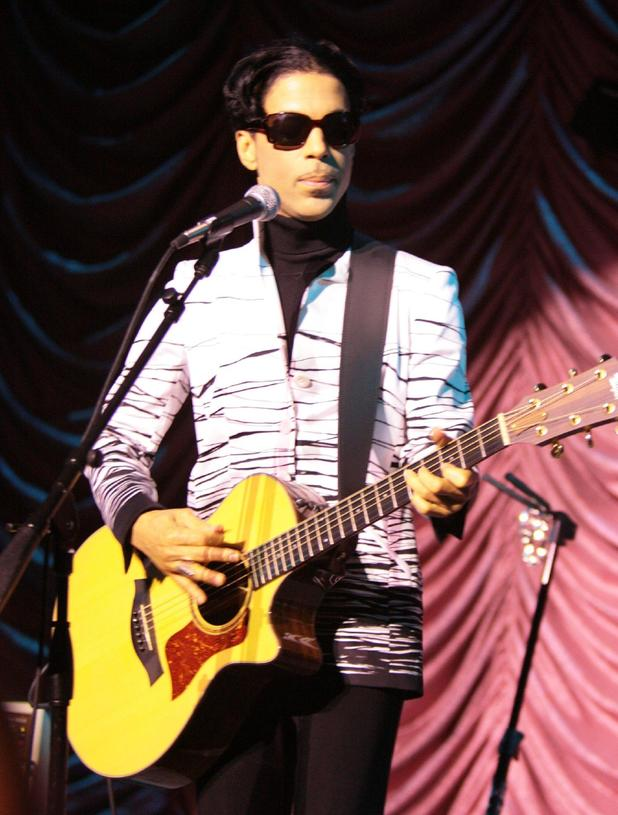 Musician Prince performing on stage before accepting a lifetime achievement award at the 10th Annual Webby Awards held at Cipriani Wall Street - 2006