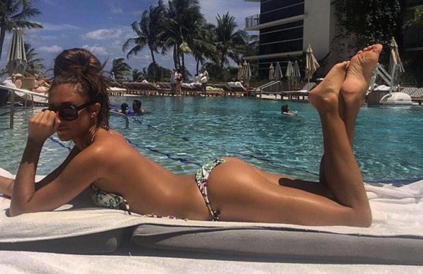 TOWIE's Megan McKenna sunbathing in Miami April 2016