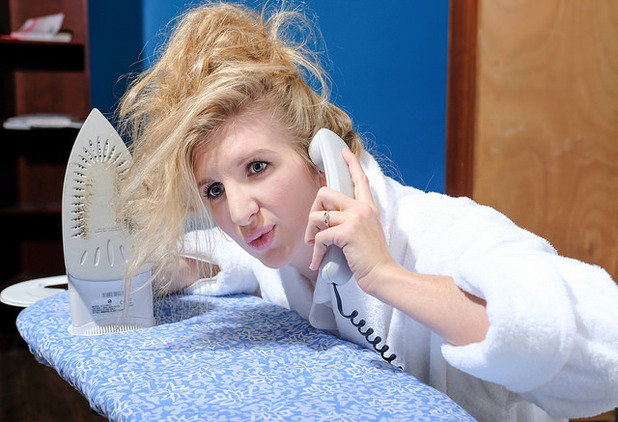Rebecca Adlington impersonates Bridget Jones as she recreates the wake up scene from Bridget Jones's Diary to announce that she will be a Kellogg's Team GB Great Starts ambassador for the Rio Olympic Games alongside Sir Steve Redgrave and Louis Smith.27 April 2016.