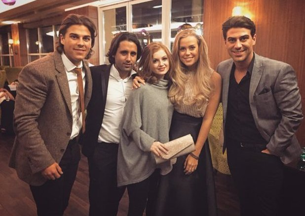 Ex EastEnders actress Maisie Smith with some of the TOWIE cast at the Young Scot Awards. 27 April 2016.