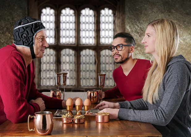 Steve Redgrave, Louis Smith and Rebecca Adlington recreate the breakfast scene from Harry Potter to announce that they will be the Kellogg's Team GB Great Starts ambassadors for the Rio Olympic Games.27 April 2016.