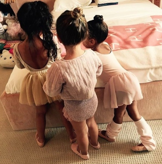 Penelope Disick and North West wear their hair in ballerina buns, 29th April 2016