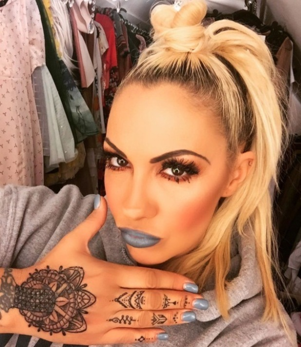 Jodie Marsh champions grey lipstick and matching nails in Instagram selfie, 27th April 2016