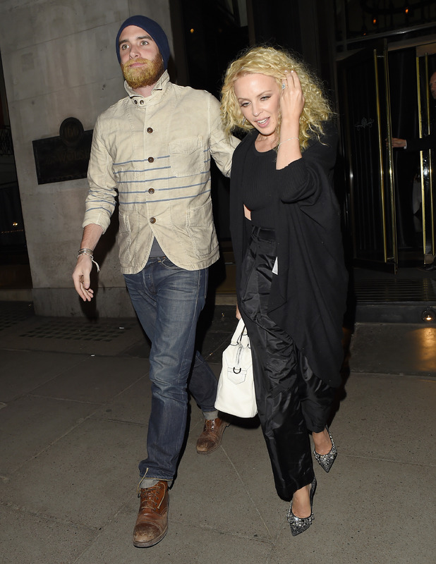 Kylie Minogue and Joshua Sasse leaving The Dorchester hotel in London, 24th April 2016