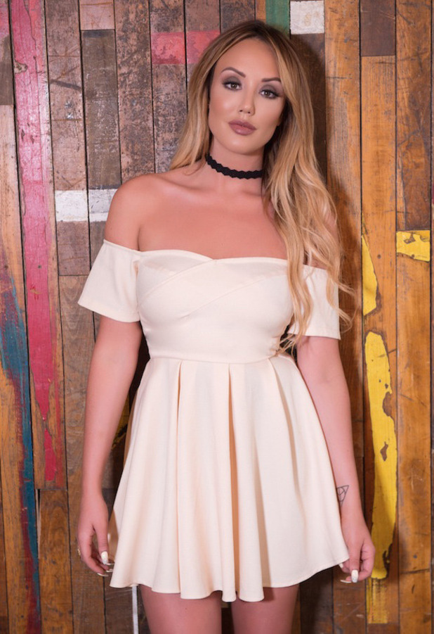 Geordie Shore star Charlotte Crosby unveils her new spring summer line with In The Style, off-the-shoulder dress, 26th April 20167