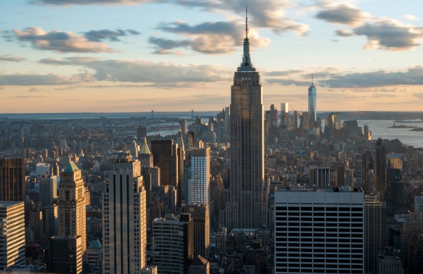 New York tours and attractions: Empire state building standing tall in the New York city skyline as seen from the Rock Observation Deck. Empire State Building is a 102-story skyscraper located in Midtown Manhattan, New York City. (Photo by Roberto Machado Noa/LightRocket via Getty Images)