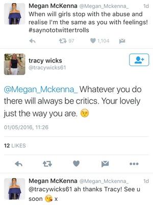 Megan McKenna and Tracy Wicks tweet exchange. 2 May 2016.