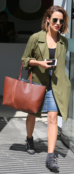 Caroline Flack soaks up the sun in khaki while out and about in London, 5th May 2016