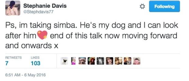 Stephanie Davis tweet about puppy Simba 6 May