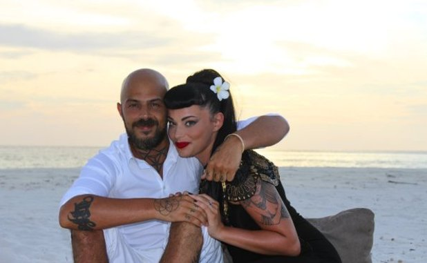 Abz Love, Vicky Fallon engaged in the Maldives. 4 May 2016.
