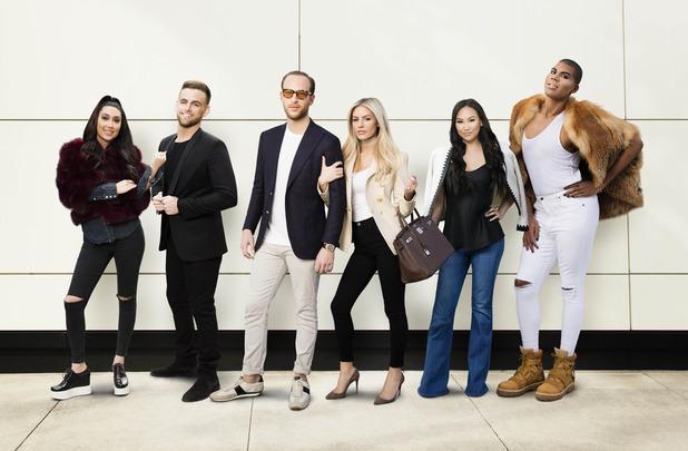 Morgan Stewart, Brendan Fitzpatrick, Dorothy Wang, Roxy Sowlaty, Jonny Drubel - stars of new E! reality show, #Rich Kids of Beverly Hills. May 2016.