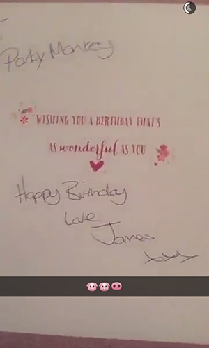 TOWIE's Danielle Armstrong shows birthday card from Lockie Snapchat 5 May 2016