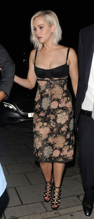 Jennifer Lawrence wears cleavage-baring dress while on a night out in London's Mayfair, 10th May 2016