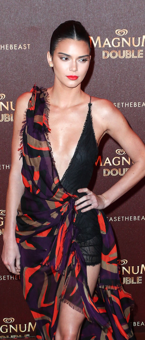 Keeping Up With The Kardashians star and model Kendall Jenner stuns in multicoloured dress at the Magnum party during Cannes Film Festival, Cannes France, 12th May 2016