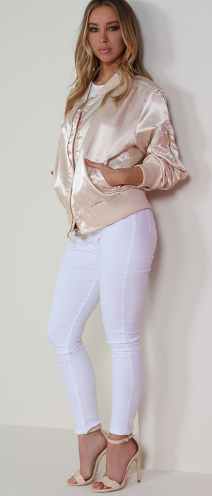 Former TOWIE star Lauren Pope shares her top picks from fashion website Vavavoom, satin bomber jacket and jeans, 11th May 2016