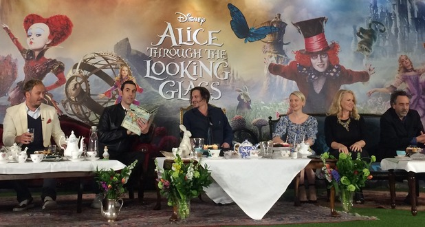 Alice Through The Looking Glass press conference with afternoon tea setting. Sacha Baron Cohen, Johnny Depp, Mia Wasikowska and Tim Burton.
