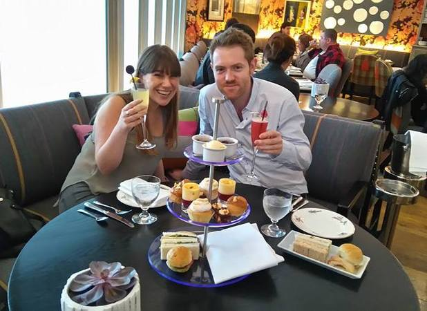 Sarah and Mr T have afternoon tea