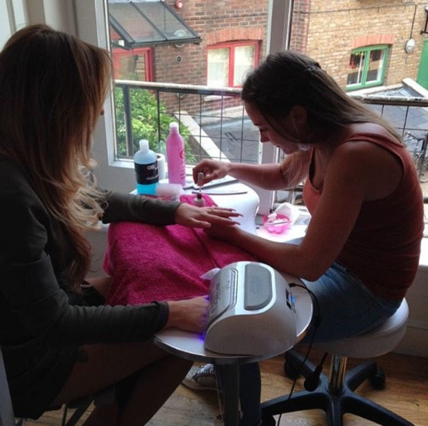 Charlotte Crosby gets her nails done by Amy Ganney, Amy's Nails & Beauty, Essex and London, 9 May 2016