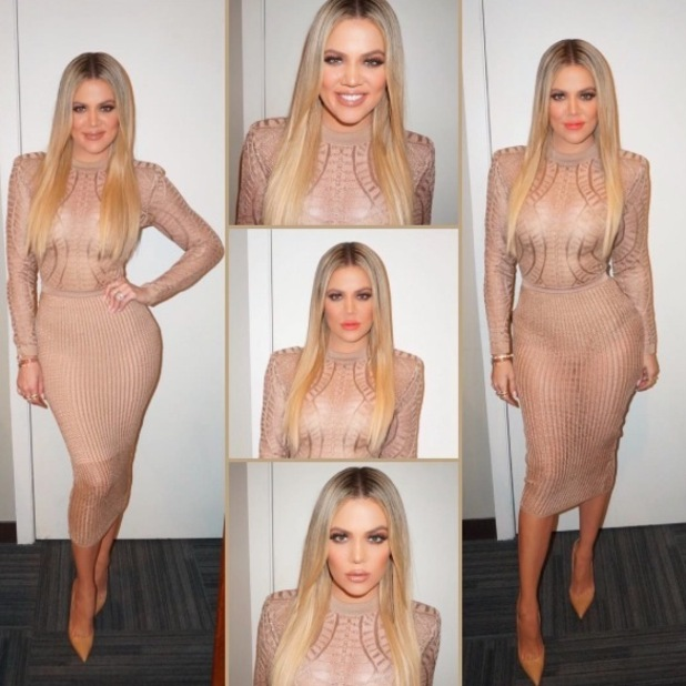Khloe Kardashian has to add slip dress to risqué outfit as she appears on Ellen, Instagram, 12th May 2016