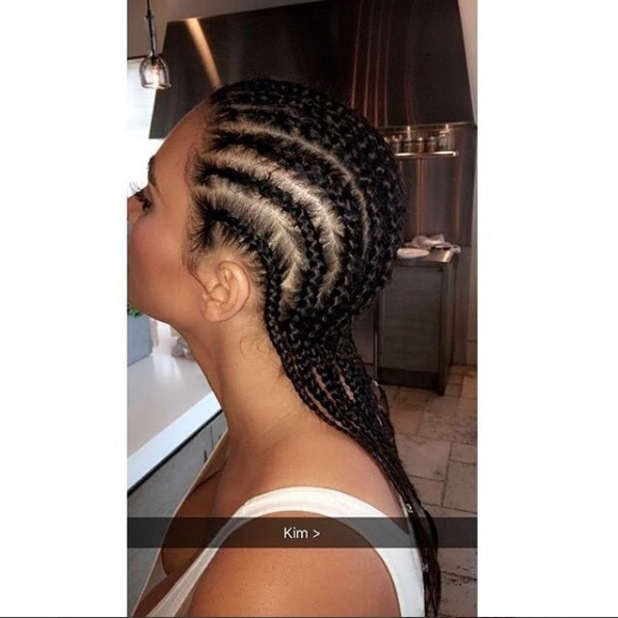Kim Kardashian shows off her braided hair in Kylie Jenner's Snapchat, 10th May 2016