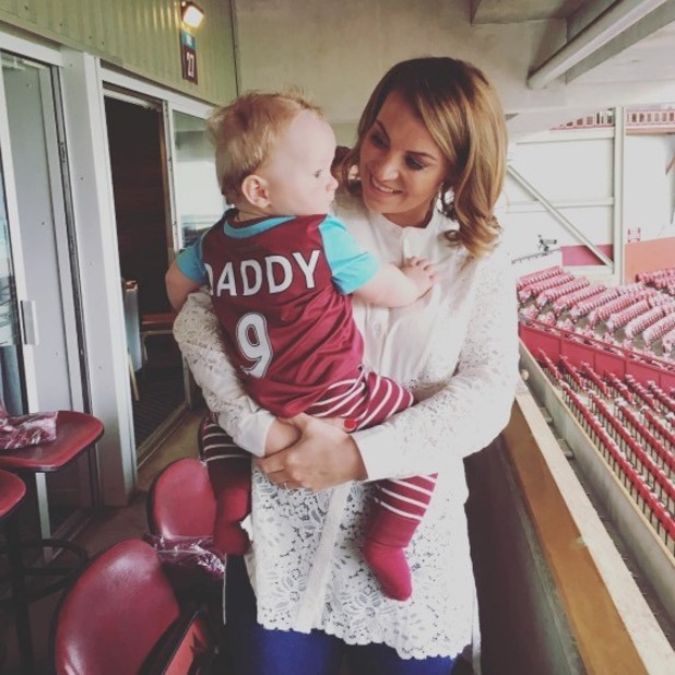 Billi Mucklow and son Arlo support Andy Carroll at West Ham game - 10 May 2016