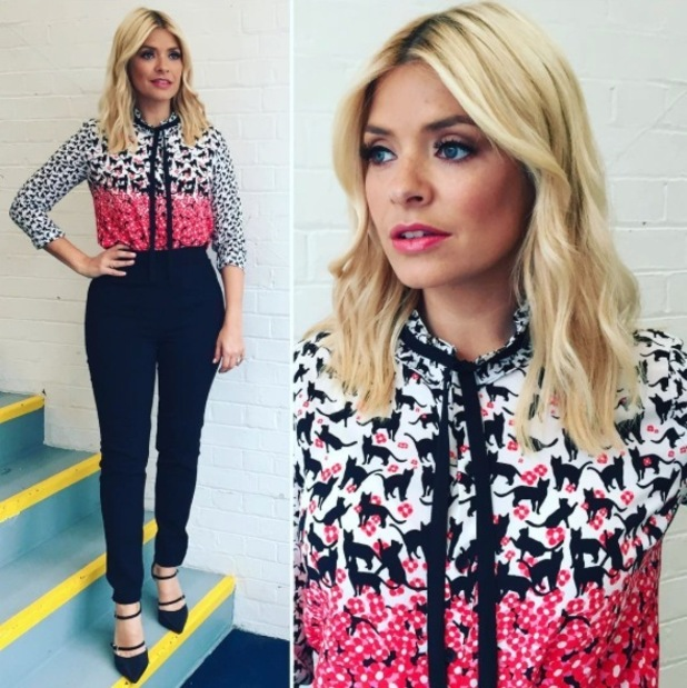 Holly Willoughby wears Topshop blouse on This Morning, 11th May 2016