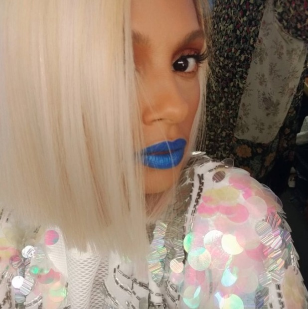 Alesha Dixon rocks electric blue lipstick, by Karin Darnell, 9 May 2016