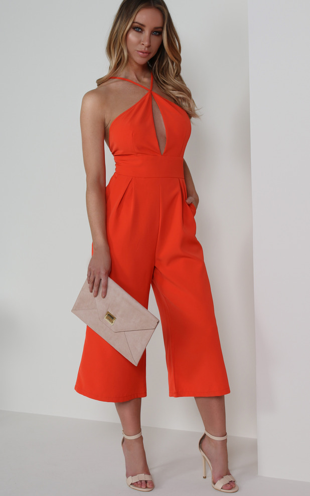 Former TOWIE star Lauren Pope shares her top picks from fashion website Vavavoom, red keyhole jumpsuit, 11th May 2016