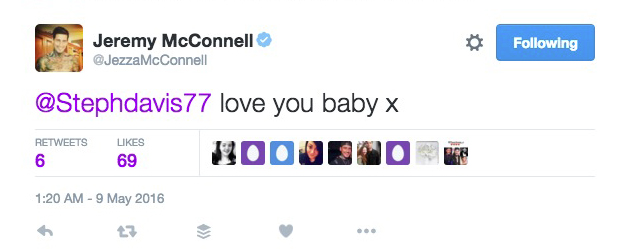 Jeremy McConnell tweets 'love you' to Stephanie Davis 9 May