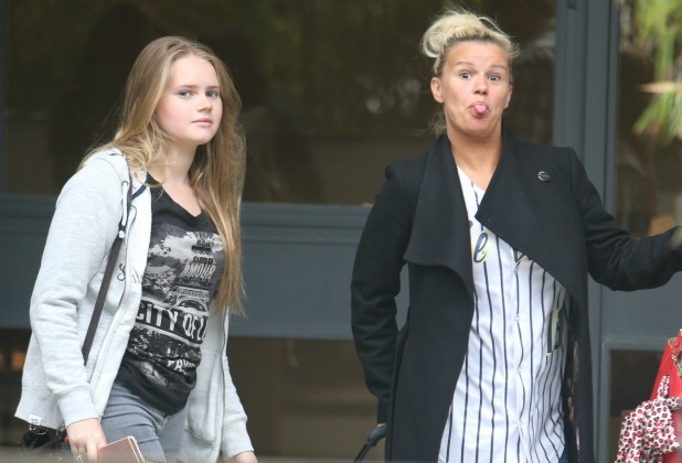 Kerry Katona and her daughters outside ITV Studio London, 11 May 2016