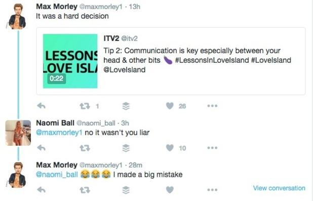 Max Morley and Naomi Ball tweets over Jess Hayes 20 May