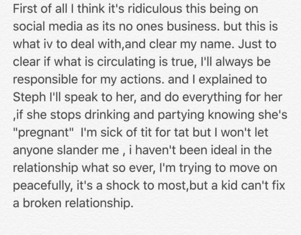 Jeremy McConnell responds to allegations Stephanie Davis is pregnant 17 May 2016