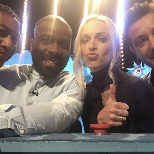 Fearne Cotton and her ITV2 Celebrity Juice team, including Gino D'Acampo and Melvin Odoom, 18 May 2016