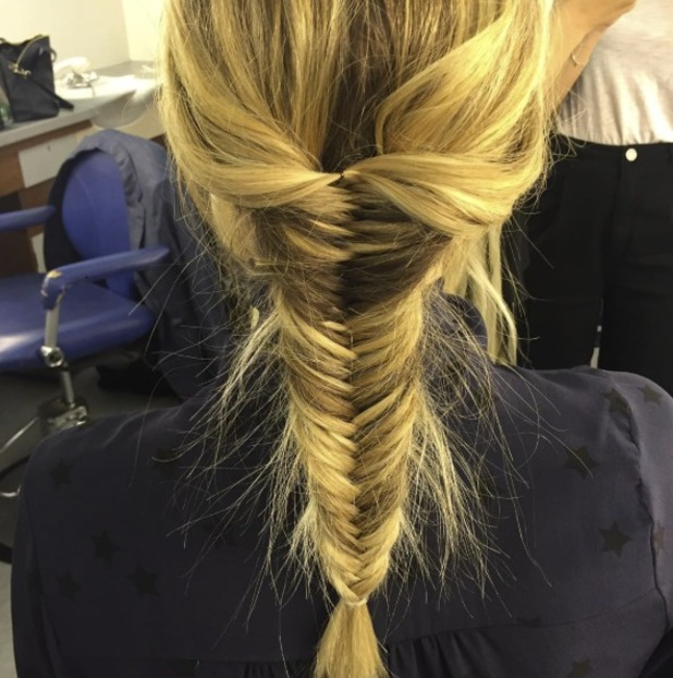 Fearne Cotton wears hair in fishtail braid for ITV2's Celebrity Juice, 18 May 2016