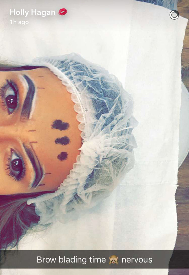 Geordie Shore's Holly Hagan sends a Snapchat during eyebrow microblading session, 20th May 2016
