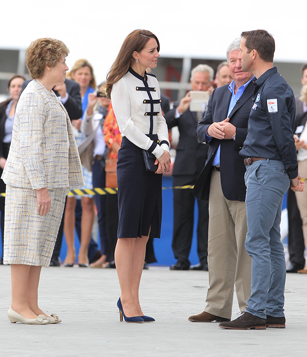 The Duchess of Cambridge arrives at BAR racing to visit the crew of BAR Land Rover America's Cup team with Sir Ben Ainslie. May 20, 2016