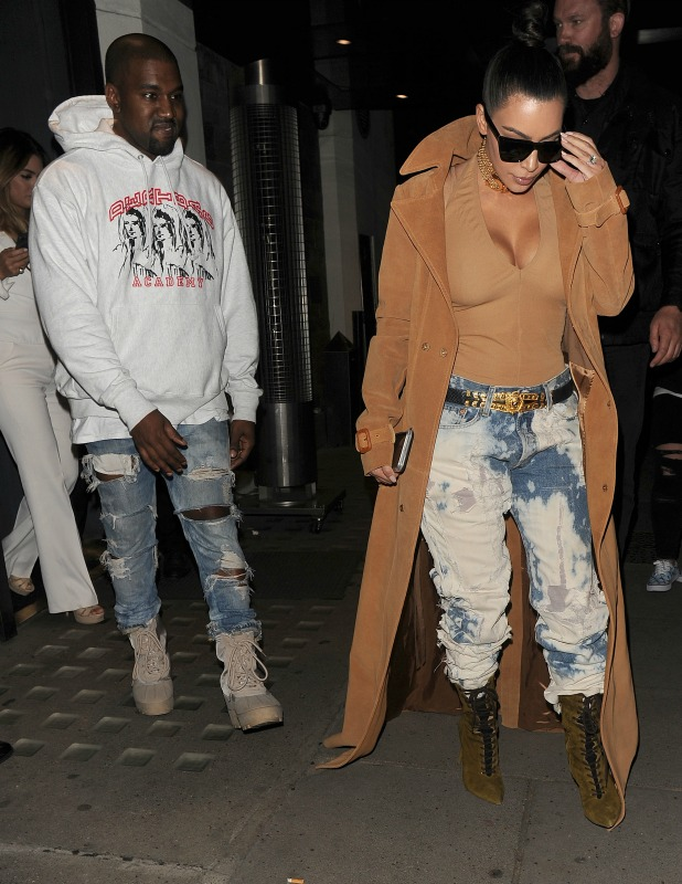 Kim Kardashian and her husband Kanye West leaving Hakkasan restaurant, and heading back to their hotel 20 May 2016