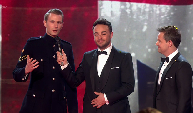 Magician Richard Jones talking to Ant and Dec as he's announced as winner of  ITV's Britain's Got Talent, 29/5/16