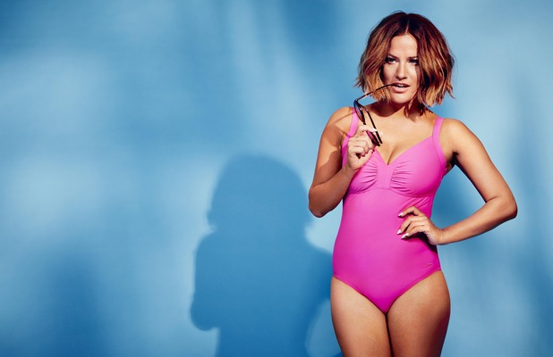 Caroline Flack announced as the new face of the Speedo Sculpture range, pink swimsuit, 23rd May 2016