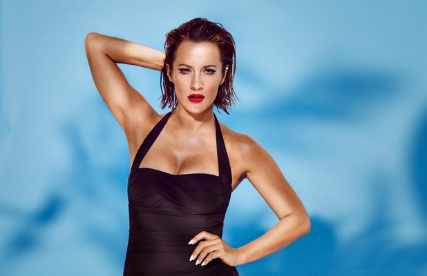 Caroline Flack announced as the new face of Speedo Sculpture's swimwear collection, black swimsuit, red lips, 23rd May 2016