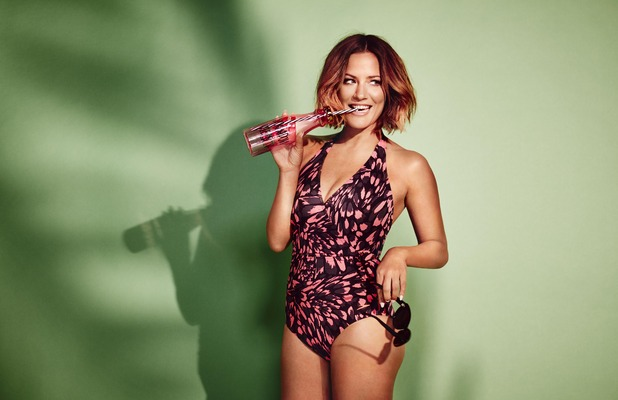 Caroline Flack announced as the new face of Speedo Sculpture's swimwear collection, printed swimsuit, 23rd May 2016