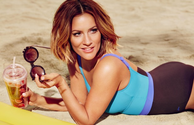 Caroline Flack announced as the new face of Speedo Sculpture's swimwear collection, blue and black swimsuit, 23rd May 2016