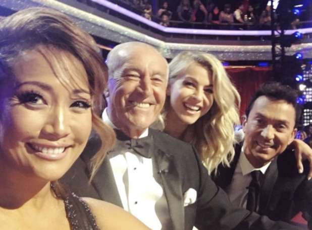 Julianne Hough on Dancing With The Stars Season 22 finale show, along with judges Carrie Ann Inaba, Len Goodman and Bruno Tonioli, 25 May 2016