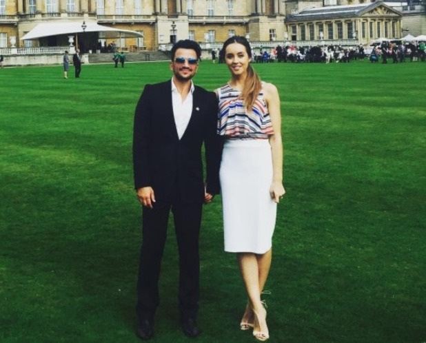 Peter Andre and Emily MacDonagh attend charity garden party at Buckingham Palace after pregnancy news - 26 May 2016