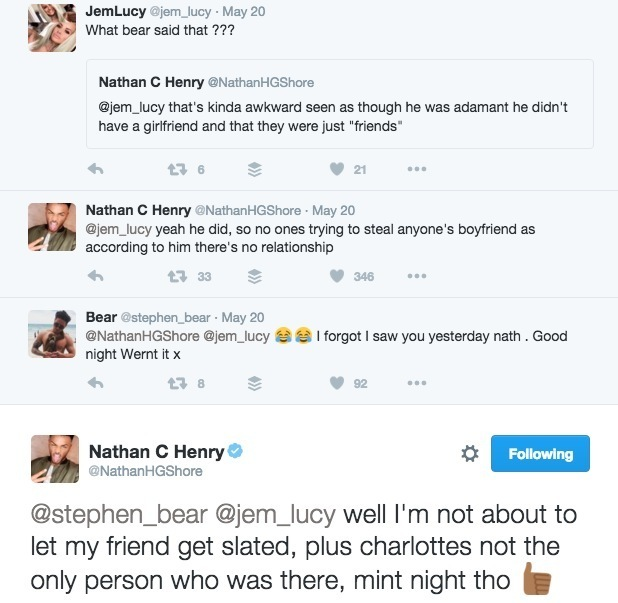 Jem Lucy and Nathan Henry clash over Charlotte Crosby 20 May