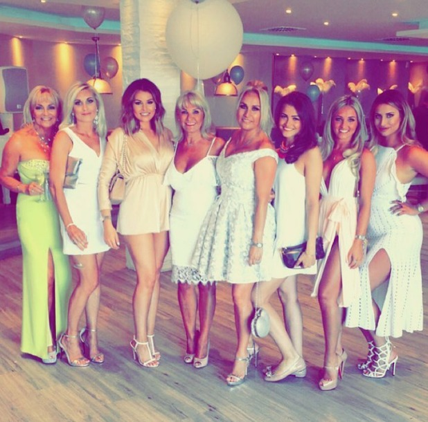 Jess Wright, Leah Wright, Carol Wright and Ferne McCann at Elliot Wright's restaurant in Marbella, 28/5/16