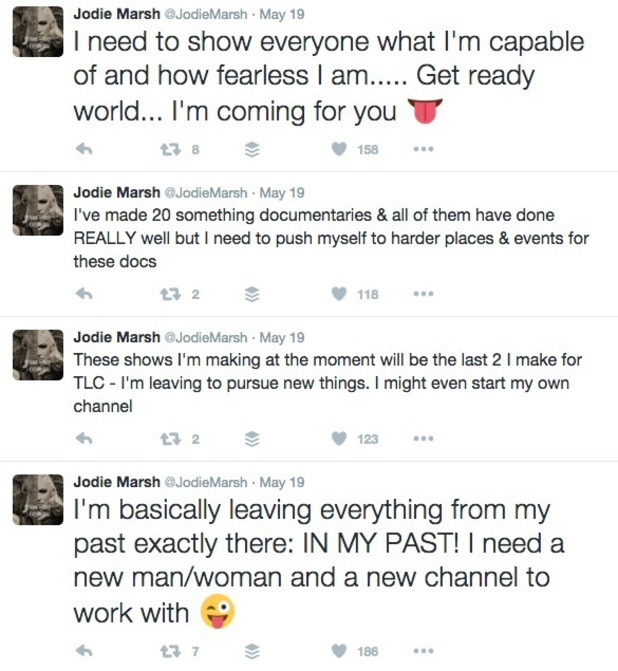 Jodie Marsh tweets on leaving TLC 19 May
