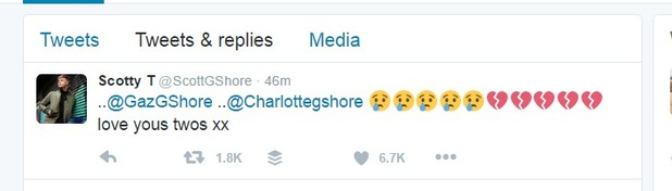 Scotty T tweets about Charlotte Crosby and Gaz Beadle drama, 1 June 2016