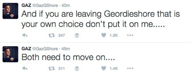 Gaz Beadle tweets about Charlotte Crosby's exit from Geordie Shore 1 June